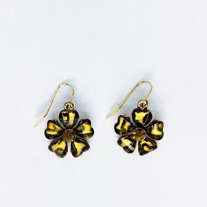 New! Leopard Print Flower Dangle Earrings Brown